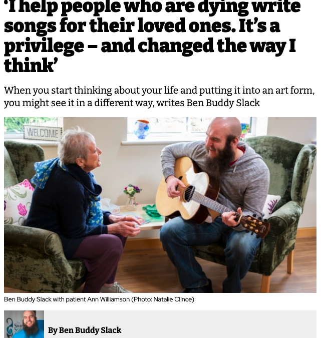"'I help people who are dying write songs for their loved ones. It's a privilege – and changed the way I think"" Swan Song in The I Paper"
